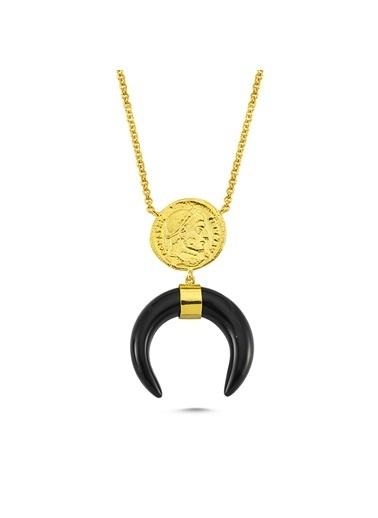 Reian Jewelry Coın Onıx Kolye Altın